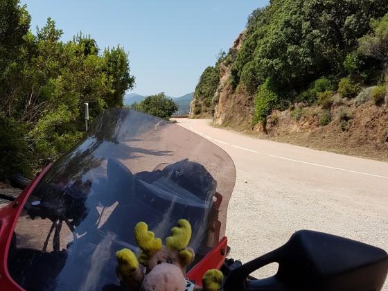 Korsika - Straße in etwas breiter auf dem Weg zum Col de Bavella